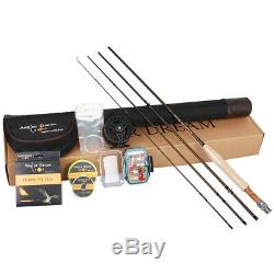AnglerDream Fly Fishing Rod Combo Large Arbor Fly Reel 3/5/8 WF No Loop Fly Line