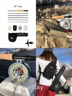 Compact Travel Fly Fishing Rods & Combos Tiny 19 Inch Case 7 Piece Set Black
