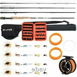 Dr. Fish Fly Fishing Rod & Reel Combos 9ft 5/6wt 19In1 Starter Package Outfit Kit