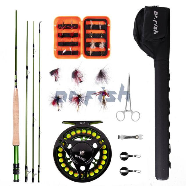 Dr. Fish Fly Fishing Rod Reel Outfit Combos 4 Pieces Carbon Fiber Rod Shipped Us