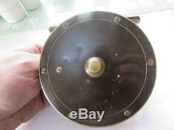 Excellent vintage hardy brass ebonite combination salmon fly fishing reel 4.5