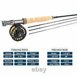 Fly Fishing 9ft 5/6wt 19-in-1 Prespooled Compelet Starter Rod Reel Combos