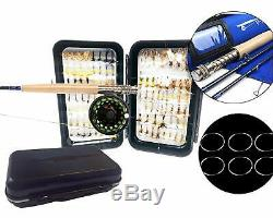 Fly Fishing Combo Rod / Reel / Line / Leader with Fly Box and 100 Flies