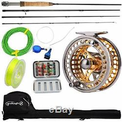 Fly Fishing Rod Reel Combos With Lightweight Portable And CNC-machined Aluminum