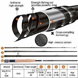 Fly Fishing Rod and Reel Combo, 4 Piece Lightweight Ultra-Portable Graphite Fly