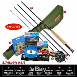 Fly Fishing Set Rod Reel Combo 8FT 3/4 &9FT 5/6 Fly Rod with Line Bait Full Kits