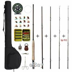 Fly Rod & Reel Combos Fishing And 4-Piece 5wt Aluminum 28 Pieces Flies Kit With