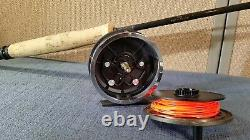 L L Bean 2 piece Fly Fishing Rod 765 7'6 for 4/5WT + Reel and DB Dun Case