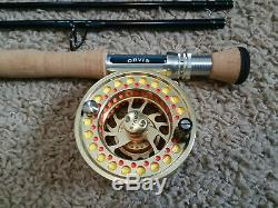 Orvis Hydros 907 4pc Tip Flex Fly Rod Hydros Reel Hydros Line backing combo LN