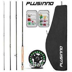PLUSINNO Fly Fishing Rod and Reel Combo, 4 Piece Lightweight Ultra-Portable Grap