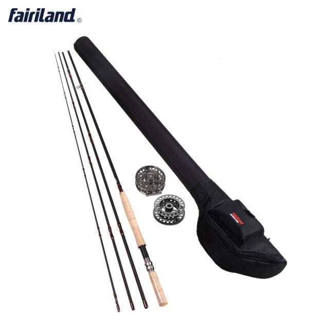 Portable Carbon Fish Pole Fly Fishing Rods And Reel Combos Set With Spare Spool