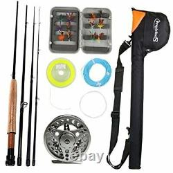 Saltwater Freshwater Fly Fishing Rod with Reel Combo Kit Silver Kits with Bag
