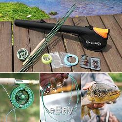 Sougayilang Saltwater Freshwater Fly Fishing Rod with Reel Combo Kit-Green