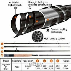TOPFORT Fly Fishing Rod and Reel Combo, 4 Piece Lightweight Ultra-Portable