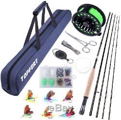 TOPFORT Fly Fishing Rod and Reel Combo, 4 Piece Lightweight Ultra-Portable Graph
