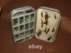 Wheatley alloy dry/wet fly combination pocket box filled with traditional sal