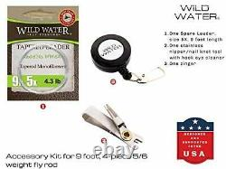 Wild Water Fly Fishing 9 Foot, 5/6 Weight Fly Rod Complete Fly Fishing Rod