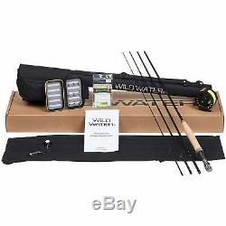 Wild Water Fly Fishing Rod and Reel Combo 4 Piece Fly Rod 5/6 9 Complete